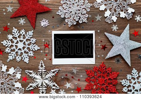 Christmas And New Year Background With Decorations - Balls, Sparkling Snowflakes And Photo Frame.