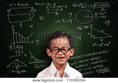 Little Asian Student Boy Math Genius