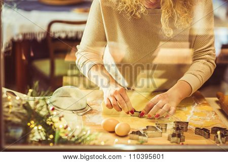 Young Woman Making Cookies