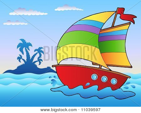 Cartoon Sailboat Near Small Island