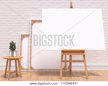 Mock up canvas frame with plant easel floor and wall. 3D render