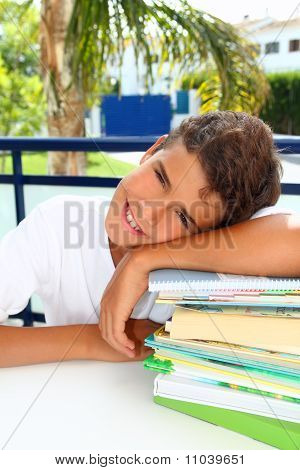 Boy Student Teenager Happy Thinking With Books