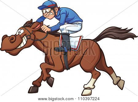 Cartoon race horse. Vector clip art illustration with simple gradients. Jockey and horse on separate layers.
