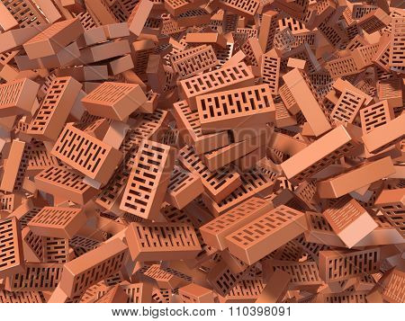 Heap of falling flying scattered bricks