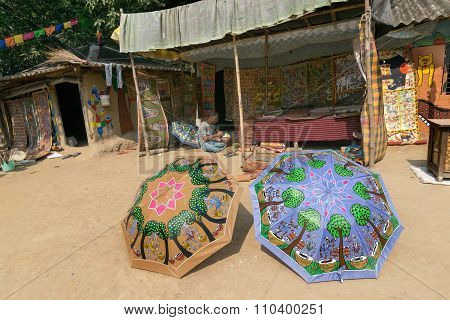 Colourful Handicrafts Are Being Prepared For Sale In Pingla Village, West Bengal, India