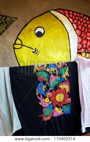 Colourful Handicrafts For Sale In Pingla Village,west Bengal,india