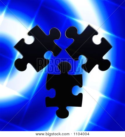Puzzle Trio On Blue