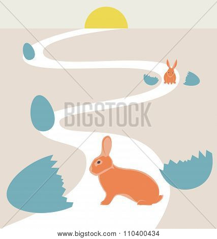 Way of rabbits hatched from the egg to the sun
