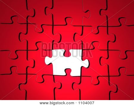 Red Puzzle With One White Piece