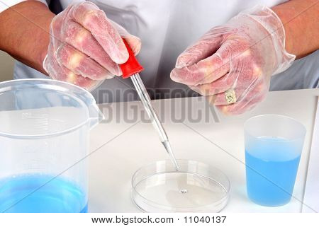 Blue Liquid And Petri Dish In A Laboratory