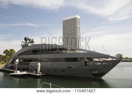 The Luxury Yacht Are Moored At Port