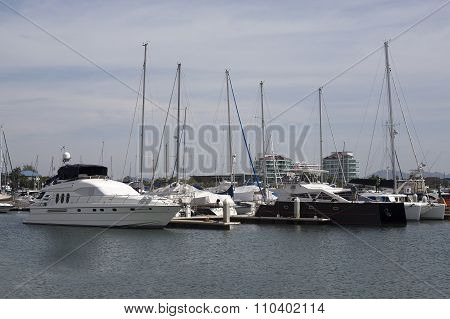 The Yacht Anchored At Harbor