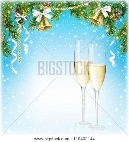 Shiny Christmas Background with Sparkling Wine Champagne Bells a