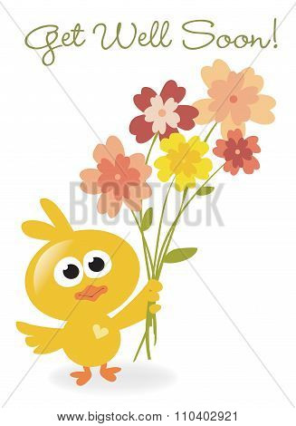 Get Well Soon bird with flowers
