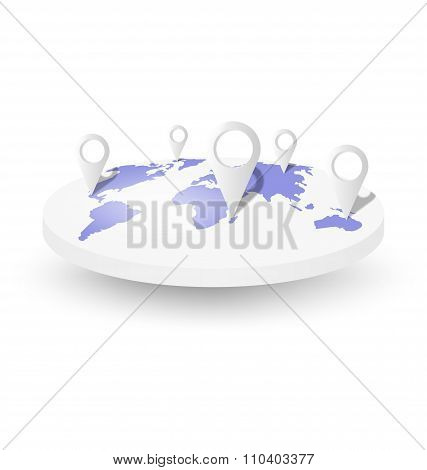 World map with pins isolated on white