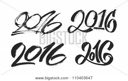 New Year 2016 hand lettering design set.