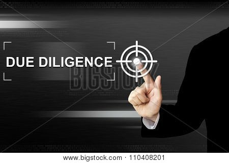 Business Hand Pushing Due Diligence Button On Touch Screen