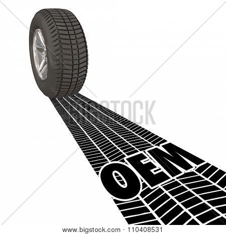 OEM letters in the tire tracks of a wheel's treads to illustrate Original Equipment Manufacturer products, parts and services for your auto, truck or vehicle
