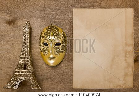 Gold Theatrical Mask And The Eiffel Tower