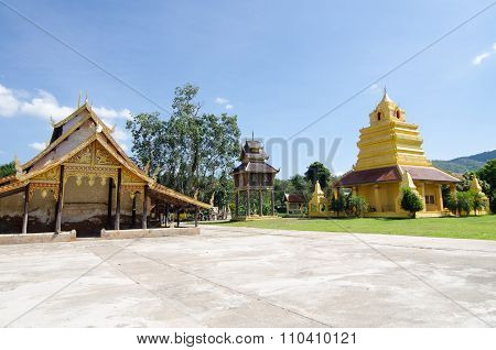 Old Church At Wat Sri Pho Chai Sang Pha Temple In Loei Province, Thailand (temples Built During The