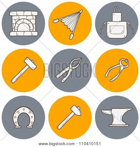 Blacksmith hand drawn icons