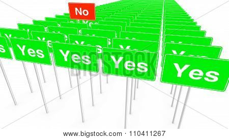 Many Yes And One No Signs