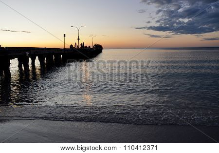 Orange Indian Ocean Sunset with Jetty