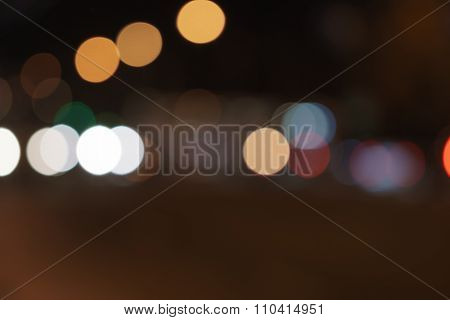blurred car lights in night time