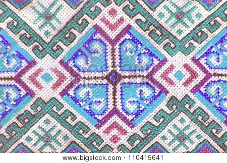 Embroidered Handmade Cross-stitch Ethnic Ukraine Pattern, Stylized As Watercolor. Ethnic Ornament
