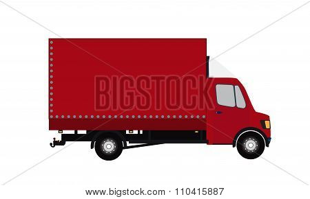 Red Small truck. Silhouette. Vector Illustration.