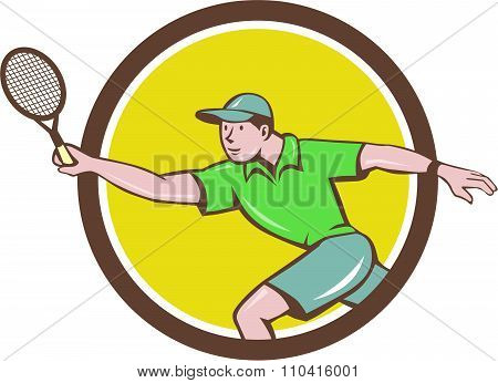 Tennis Player Racquet Forehand Circle Cartoon