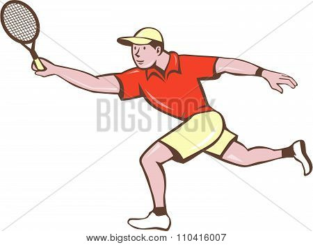 Tennis Player Racquet Forehand Cartoon