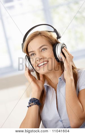 Attractive Girl Listening Music Smiling