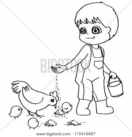 Coloring book  child feeding chickens vector