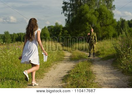 Happy Girl Meets A Soldier