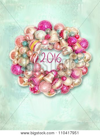 Christmas Wreath, Decor For New Year. Merry Christmas Card Wreath With Colorful Balls And Bells.