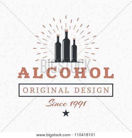 Alcohol Bottles. Vintage Retro Design Elements For Logotype, Insignia, Badge, Label. Business Sign T