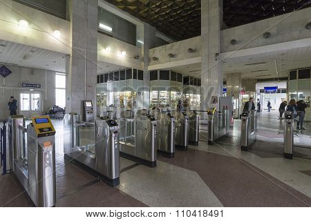 Vladimir, Russia - 05.11.2015. The interior of  train station with turnstiles