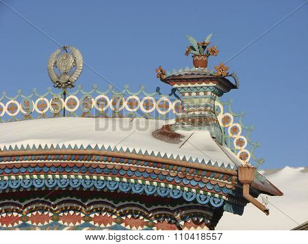 KUNARA, SVERDLOVSK REGION, RUSSIA - November 8, 2011: Photo of Decorative elements of the pediment.