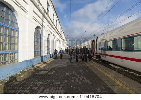 VLADIMIR, RUSSIA -05.11.2015. High-speed train Strizh at  railway station