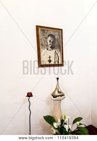 Nazaret, Israel 11 July 2015: Reliquary And The Image Of Blessed Charles De Foucauld (1858 -1916 Eug