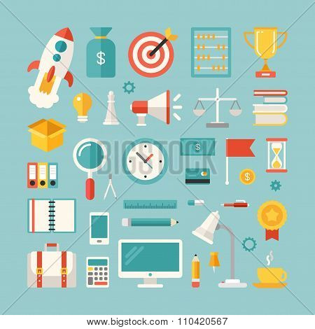 Set Of Vector Icons And Illustrations In Flat Design Style. Business Objects And Symbols. Money, Sta
