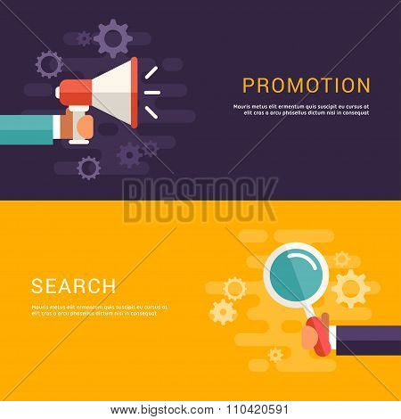 Flat Design Concept For Web Banners. Promotion And Search