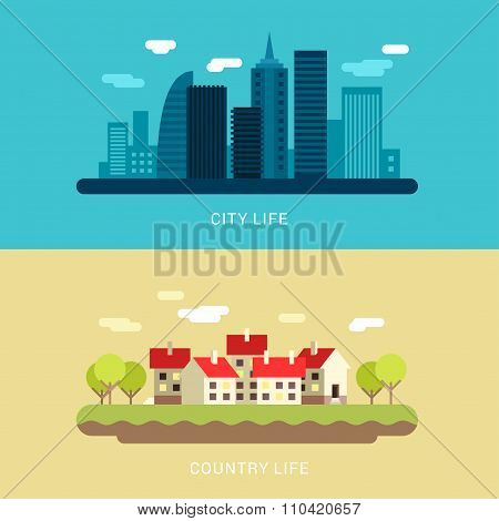 City Life And Country Life. Flat Style Vector Conceptual Illustration For Web Banners Or Promotional