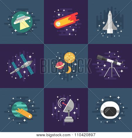 Set Of Vector Illustrations In Flat Design Style. Space Theme. Planets, Rockets, Stars, Comet
