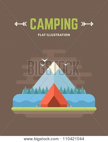 Camping. Tourists Tent And Mountine. Flat Style Vector Conceptual Illustration For Web Banners Or Pr