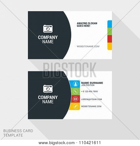 Creative And Clean Business Card Vector Print Template. Flat Style Vector Illustration. Stationery D