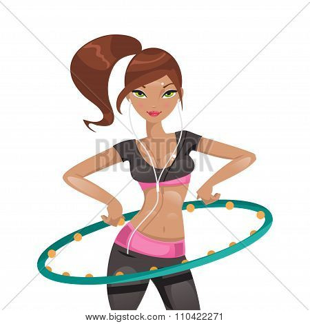 Exercise With A Hoop. Vector Illustration