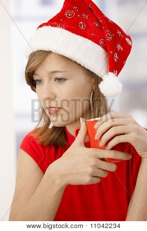 Attractive Woman Wearing Santa Claus Hat