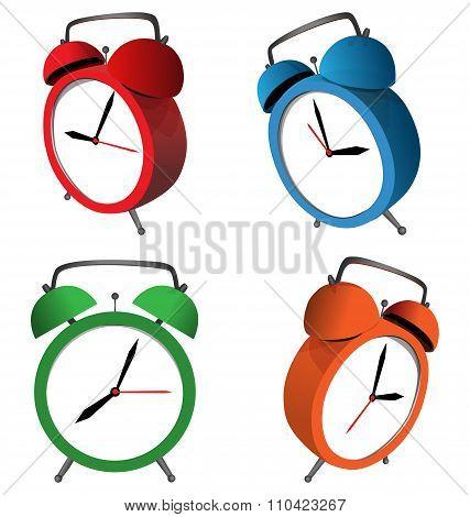 alarm clocks isolated on white